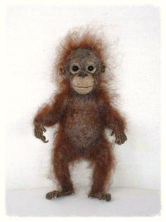 Nadel Gefilzte Baby Orangutan von FireflyFelts auf Etsy
