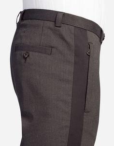 Buy the cotton pinstripe pants for men in multicolor. Mens Fashion Wear, Suit Fashion, Fashion Pants, Nigerian Men Fashion, African Men Fashion, Men Trousers, Men's Pants, Pinstripe Pants, Dolce And Gabbana Man