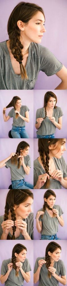 Side Mermaid Tail - I'm sure you know about fishtails, but are you familiar with the mermaid tail? I can't believe how easy it is to get a look this eye-catching. It may look like some crazy complication of six strands braided into each other, but all you actually do is just pin two regular braids together.