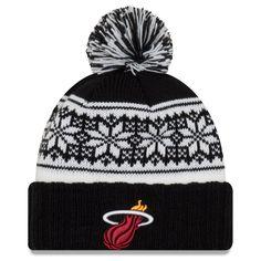 7f8d4b8bd46 Women s Miami Heat New Era Black Snowy Cuffed Knit Hat with Pom
