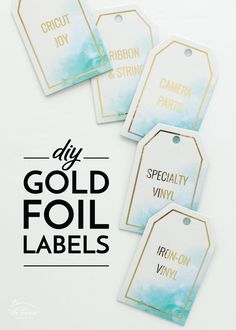 Get ready to add sparkle and shine to your home by making DIY Gold Foil Labels using a laser printer, foiling sheets and laminator! Craft Projects For Kids, Diy Crafts For Kids, Diy Projects, Vinyl Labels, Holiday Gift Tags, Clear Stickers, Gold Diy, Iron On Vinyl, Printing Labels