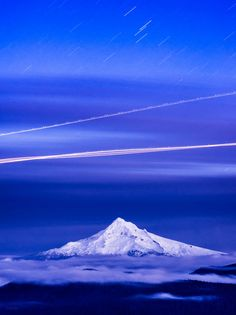 Mountain Route by Derek Kind on 500px Star and airplane trails over Mt. Hood, as seen from Larch Mountain, Oregon
