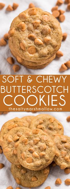 Butterscotch Cookies: The best ever recipe for butterscotch chip cookies! These cookies are chewy and soft, while being just slightly crispy around the edges. A simple butterscotch cookie that's easy to make and a perfect sweet treat for kids, and the whole family!