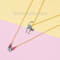 Wholesale New Fashion Double Layer Necklace Link Cable Chain Gold Plated Cat Dog Pendant Multicolor Enamel – 8seasons.com