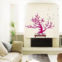 Contemporary Pink Bonsai Wall Decal at AllPosters.com