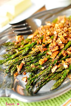Roasted Asparagus with Brown Butter Pecans ~ a delicious spring side dish that would be perfect for Easter   FiveHeartHome.com