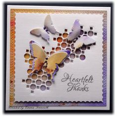Thank you card. Memory box collage corner die. Sizzix butterflies. Brusho & Pixie powders
