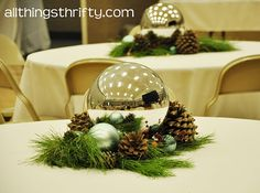 I love this! These are gazing balls like for your garden. They look like giant Christmas ornaments! What an easy table centerpiece!