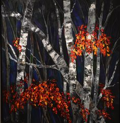 Natalie Bohnen-Twiddy is a renowned Canadian artist with her art studio located at the tett Centre located in Kingston, Ontario. Birches, Canadian Artists, Ham Radio, Autumn Leaves, My Arts, Painting, Beans Recipes, Fall Leaves, Paintings