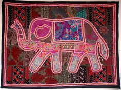 HANDMADE ELEPHANT BOHEMIAN PATCHWORK WALL HANGING EMBROIDERED TAPESTRY INDIA E77…