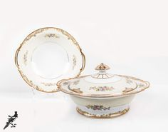 Vegetable Bowl and Covered Soup Tureen Blue Yellow Trellis Pink Roses and Gold Trim Mid Century 1947 Noritake Japan Carmela Round Bowl by TheCordialMagpie from Etsy. Find it now at http://ift.tt/2da8qAn!