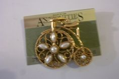 80's Brooch Gold Tone Metal Tricycle Pin with Pearls Made by Antiquities in USA Dead Stock by ZoomVintage on Etsy
