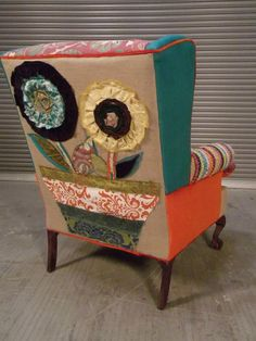 Fun Happy Chair!!!  ShawnaRobinson.com I need to do this to the back of my love seat recliner