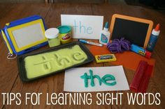 Tips for learning sight words includes, play doh, sand, chalkboard and more!