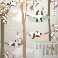 Boy's Nursery - Brown, White, Black - Pandas - Little Hands Wallpaper Mural Nursery Wall Decor, Nursery Room, Boy Room, Kids Room, Room Decor, Nursery Ideas, Baby Bedroom, Girls Bedroom, Bedroom Ideas