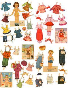 Retro 1940s Children Paper Doll BIG Set 5Dolls 82 Costumes Printable Vintage…