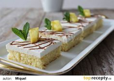 Ananasové řezy s kokosem recept - TopRecepty.cz Cheesecake, Dairy, Pudding, Treats, Sweet, Food, Instagram, Recipes, Pineapple