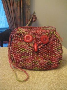 Knitted Owl Bag in Red Lime Green Multi £5.50