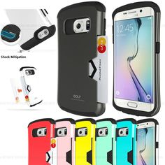 For Samsung GALAXY S6 Edge Case shockproof card slot bumper wallet cover #HUAH