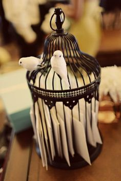 birdcage as mail holder.. love this idea!
