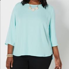 Plus size 3X chiffon mint blouse A cute twist on our favorite popover top, this chiffon piece features gold tone buttons traveling down the back. Slide it on with a pair of skinny jeans or your favorite skater skirt . Rue 21 Tops Blouses