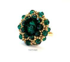 Ring Beaded Emerald Swarovski Crystals by vantageJewellery on Etsy, £20.00