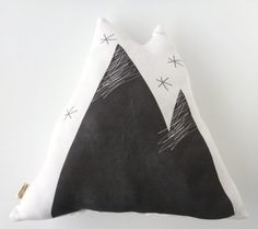 Our Foothills in the Rocky Mt. - ORGANIC Mountain Pillow  Black & White by juniperwilde on Etsy, $29.99