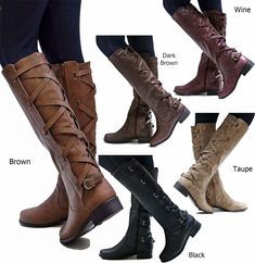 f9e77d7fbc2c Buy 2018 Fashion Women Winter Shoes Flat Heel Solid Color Long Boots  Pointed Toe Knee High Ladies Boots Leather Stitching Casual Girl Cute Flats  Boot Shoes ...