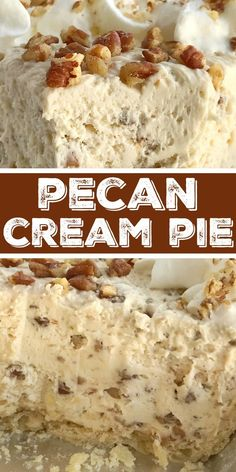 Pecan Cream Pie Pecan Pie Recipe Pecan pie just like the original but in a creamy, light, and fluffy pecan cream pie. Pie crust filled with a thick & creamy pecan mixture. This whipped cream pie is a delicious Fall twist to traditional cream pie and m Easy Desserts, Delicious Desserts, Dessert Recipes, Cake Recipes, Recipes Dinner, Easy Pie Recipes, Pecan Recipes, Apple Recipes, Recipes With Cool Whip