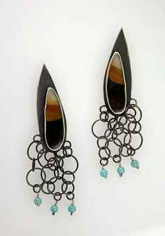 Montana Agates with Turquoise: Ashley Vick: Silver & Stone Earrings   Artful Home