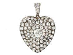 Antique Victorian Diamond Heart Pendant in Silver an gold, circa 1870 #504950