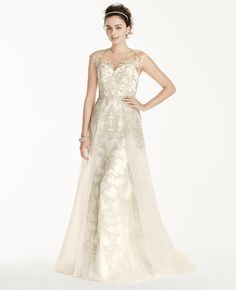 David's Bridal wedding dress with shimmery embroidery