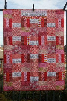 I love the colors used and the white panel placements with quotes. What Cancer Cannot Do   Jaybird Quilts