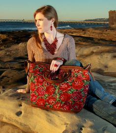 Leather Overnight Bag - Huipil Floral and Geometric (BGG014)