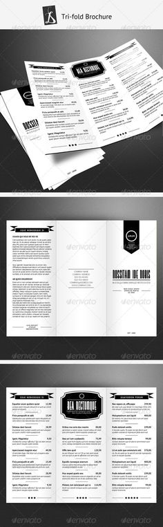 TriFold Restaurant Brochure Template Brochure template - printable tri fold brochure template