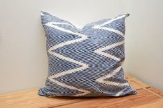 BALI Chevron Navy Blue Decorative Throw Pillow by FranklinShire