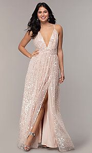 Sexy Pink Backless Sequin V-Neck Long Prom Dress Metallic Prom Dresses, Blush Pink Prom Dresses, Sequin Formal Dress, Bridesmaid Dresses, Formal Dresses, Wedding Dresses, Open Back Prom Dresses, Backless Prom Dresses, Tulle Prom Dress