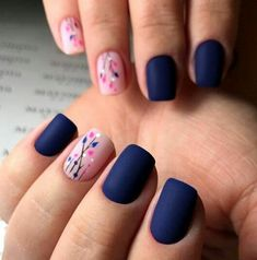 35 besten Navy Nail Art-Ideen mit Bildern 30 + Creative Navy Nail Art Designs zu I … - Nageldesign Navy Nail Art, Navy Nails, Pink Nails, Gel Nails, Blue Matte Nails, Matte Pink, Shellac, Stylish Nails, Trendy Nails
