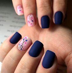 35 besten Navy Nail Art-Ideen mit Bildern 30 + Creative Navy Nail Art Designs zu I … - Nageldesign Navy Nail Art, Navy Nails, Pink Nails, Gel Nails, Nail Polish, Blue Matte Nails, Matte Pink, Shellac, Diy Nagellack