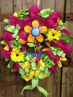 Spring/summer wreath by WilliamsFloral on Etsy, $85.00