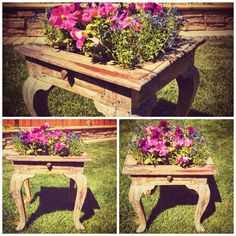 Side table - Vintage side table repurposed into an outdoor planter box.