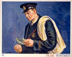 """79,242 Postmen"" by Duncan Grant, 1939. Produced as part of a set of posters for schools promoting the General Post Office work force."