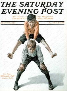 Two Boys Playing Leapfrog by Anton Otto Fischer, July 23, 1910, The Saturday Evening Post.