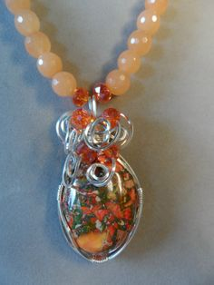 Beautiful sea sediment jasper necklace wrapped by JemsbyJackieS, $55.00