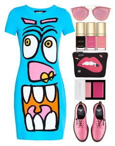 """Jeremy Scott Cartoon Face Dress"" by thestyleartisan ❤ liked on Polyvore featuring Jeremy Scott, Dolce&Gabbana, Circus by Sam Edelman, Christian Dior, Bobbi Brown Cosmetics and Dr. Martens"