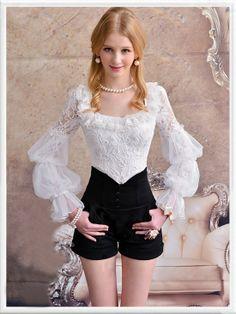 Morpheus Boutique  - White Floral Lace Jacquard  Ruffle Flare Long Sleeve Mesh Hem Shirt