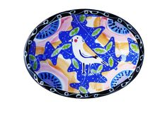Bird Flower Ceramic Oval Blue Dish Bowl Handpainted by Sharon Bloom - PUT A BIRD ON IT!