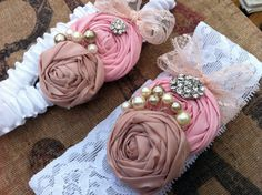 Garter Set in Pink and Nude on White stretch lace with Pearl clusters.... White Lace and Satin Garter with rossettes.. Customize-able