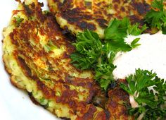 Feta Zucchini Pancakes. Moosewood. Mary's pick. Surprisingly good.