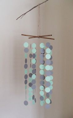 Mint and gray paper circle mobile or chandelier. Modern home and nursery decor by PaperInThePines on Etsy, $20.00
